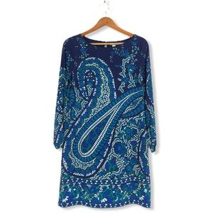 Old Navy Long Sleeve Blue Paisley Shift Dress NWT